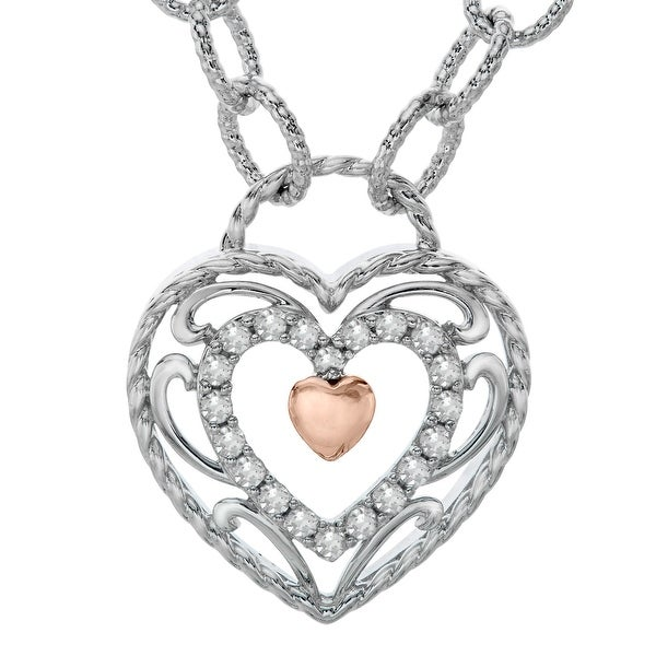 1/5 ct Diamond Filigree Heart Necklace in Sterling Silver & 14K Rose Gold