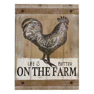 Aspire Home Accents 5674 18 Inch Wide Life Is Better On The Farm Wood Wall Decor
