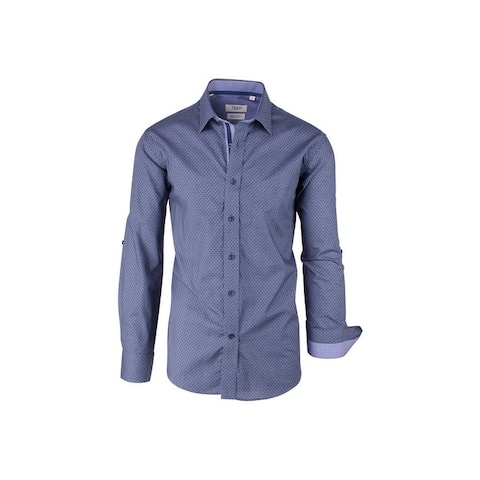 CLEARANCE Denim Blue with Indigo Square Pattern, Modern Fit, Long Sleeve Sport Shirt by Tiglio Sport SP9035