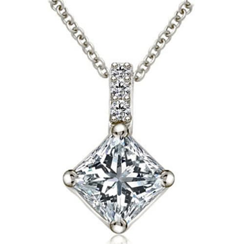 0.38 cttw. 14K White Gold Round and Princess Diamond Basket Solitaire Pendant