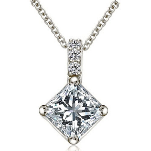 0.53 cttw. 14K White Gold Round and Princess Diamond Basket Solitaire Pendant