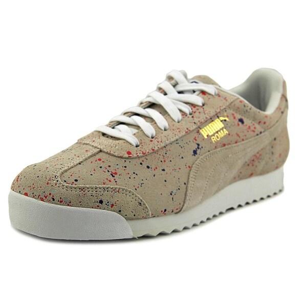 Puma Roma S Splatter Men Round Toe Suede White Sneakers