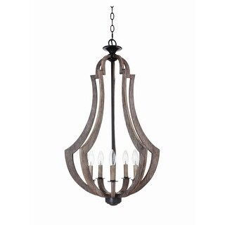 """Craftmade 35135 Winton 5-Light Foyer Indoor Pendant - 19"""" Wide - weathered pine - n/a"""
