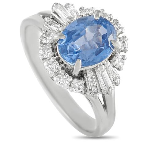 Platinum 0.40 ct Diamond and Sapphire Ring Size 5.75