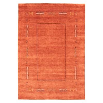 ECARPETGALLERY Hand Loomed Kashkuli Gabbeh Dark Copper Wool Rug - 5'3 x 7'8