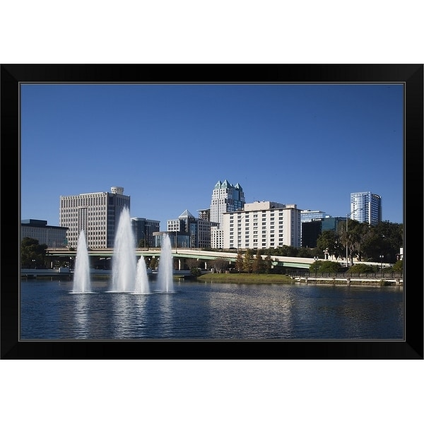 """Fountain in a lake, Lake Lucerne, Orlando, Orange County, Florida"" Black Framed Print"
