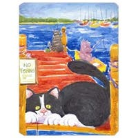 9.5 x 8 in. Black and White Cat No Fishing Mouse Pad