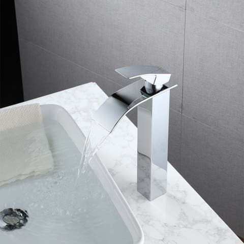 Single Handle Bathroom Basin Waterfall Faucet-Chromed Curved Mouth (High)