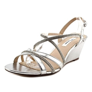 Nina Nunzia Women Open Toe Leather Silver Sandals