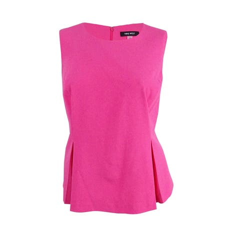 Nine West Women's Plus Size Pleated Crepe Shell Top - Candy