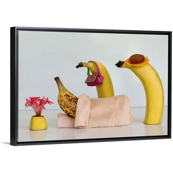 """Sick Banana"" Black Float Frame Canvas Art"