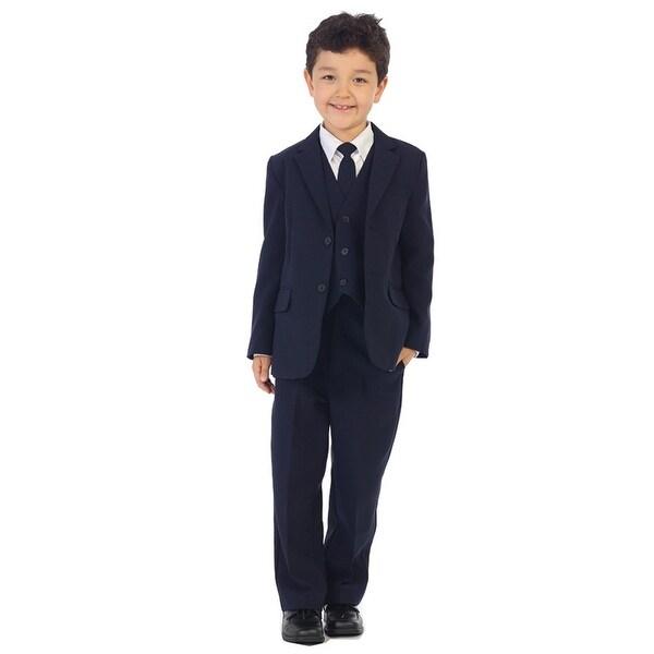962b26ef8c9e2 Shop Angels Garment Boys Navy Jacket Pants Vest Tie Shirt Handsome Suit -  Free Shipping Today - Overstock - 19774193