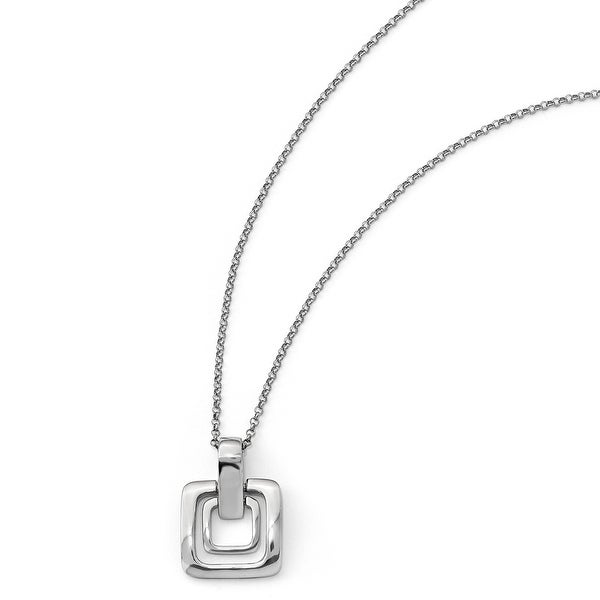 Italian Sterling Silver Polished Squares with 1in ext. Necklace - 17 inches