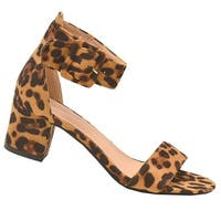 Lov mark Adult Tan Leopard Faux Suede Open Toe Block Heel Sandals