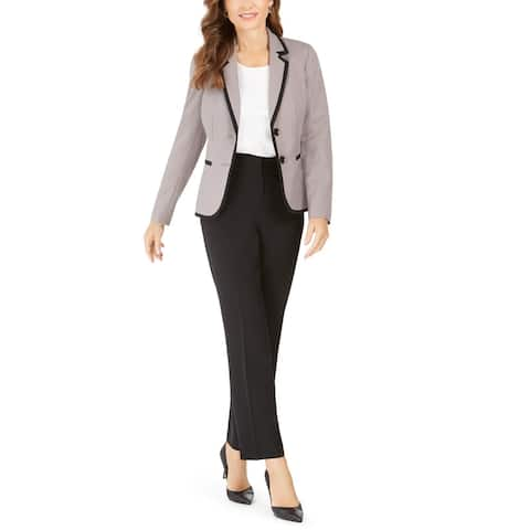 Le Suit Womens Two-Button Blazer Piping Suit Separate - Toffee/Black