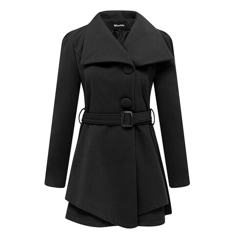 Wantdo Black Womens Size Medium M Belted One Button Wrap Coat