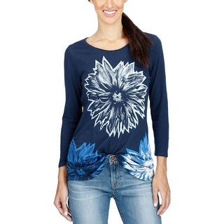 Lucky Brand Womens Pullover Top Graphic Linen - l