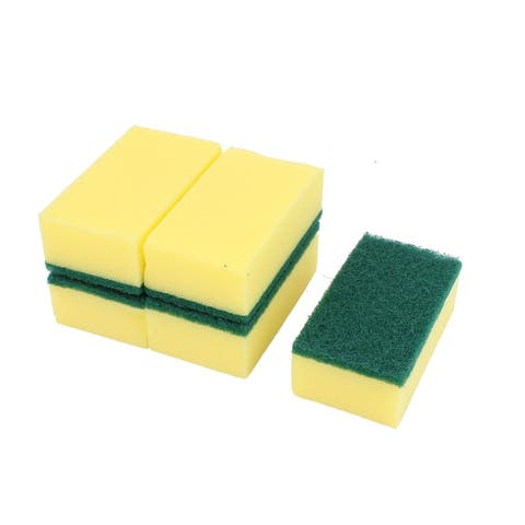 Rectangle Shape Kitchen Bowl Dish Cleaning Sponges Scrub Scouring Pads 5 Pcs