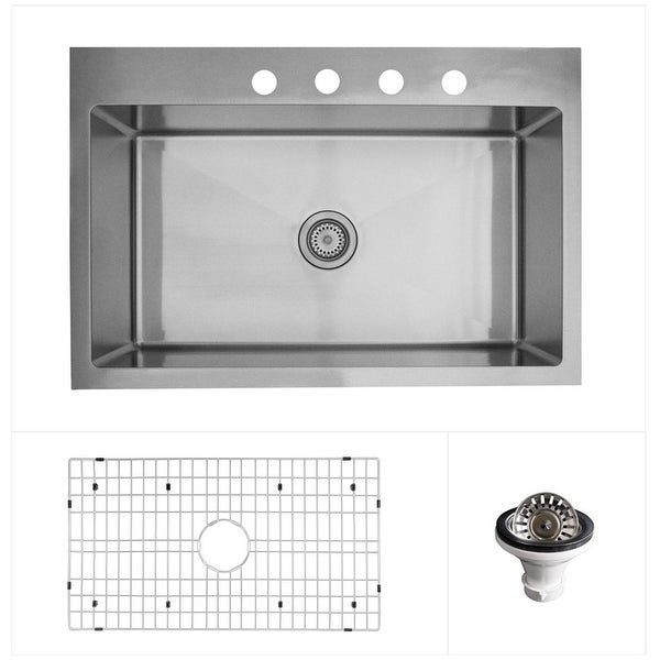 "Karran 33"" Top Mount Single Bowl Stainless Steel Kitchen Sink Kit. Opens flyout."