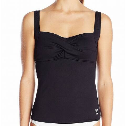 TYR Black Women's Size 6 Tankini Top Gathered Solid Swimwear