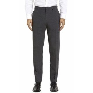 Hugo Boss Himmer Mini Check Wool Flat Front Dress Pants Charcoal 40 Regular