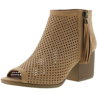 Qupid Womens Core-18 Faux Suede Laser Cut Booties
