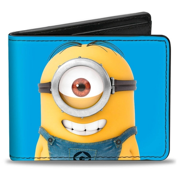 Minion Stuart Smiling + Frowning Poses Blue Bi Fold Wallet - One Size Fits most