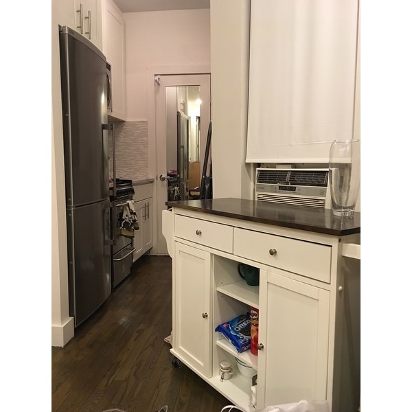 Havenside Home Nixonton White Modern Kitchen Island Cart Free