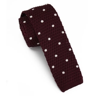 "Men's 2"" Knit Embroidred Burgundy Tie"