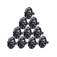 Wrought Iron Floral Mission Cabinet Hardware Knobs Black 1 Dia Set of 10