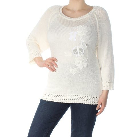 TOMMY HILFIGER Womens Ivory Patchwork Long Sleeve Scoop Neck Sweater Plus Size: 1X
