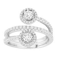 1 ct Diamond Wraparound Anniversary Ring in 14K White Gold