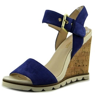 Nine West Gronigen Women Open Toe Suede Blue Wedge Sandal