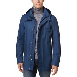 Ralph Lauren Mens Hooded Water Repellent Raincoat 42 Long 42L Marine Blue Coat