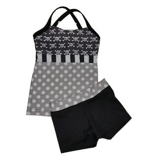 Elliewear Little Girls Gray White Polka Dot Skull Bone Top 2 Pc Shorts Set
