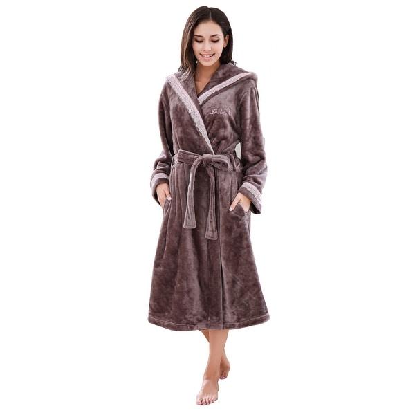 Shop Richie House Women s Soft and Warm White Fleece Robe Bathrobe ... eb3aaf3ac