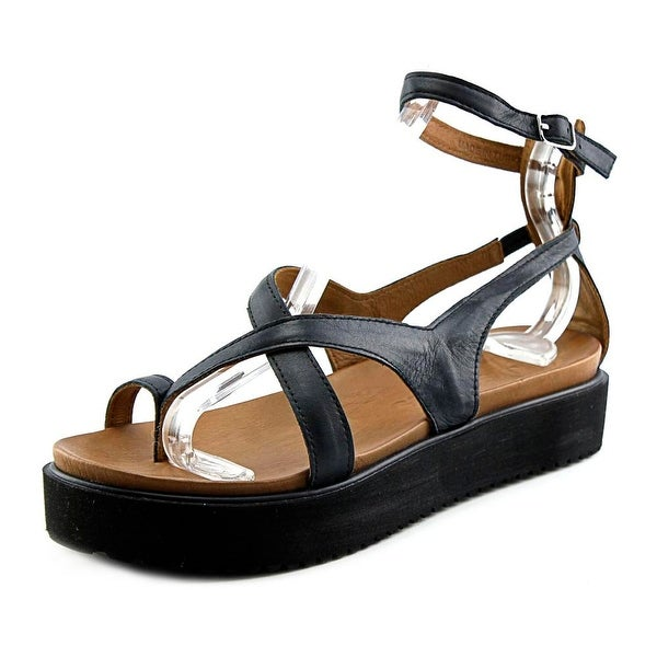 J/Slides St. Vincent Women  Open Toe Leather Black Platform Sandal