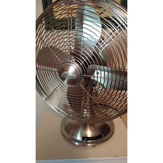 Hunter 12 Inch Brushed Nickel Retro Metal Table Fan Free Shipping Today 10364937