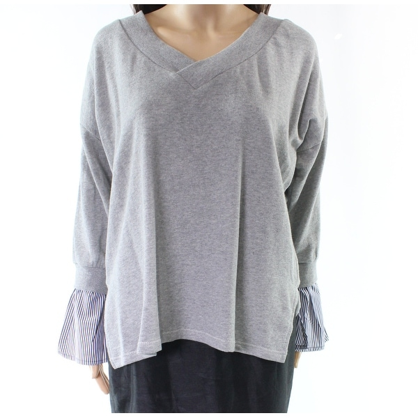 e3b992b353770d Shop RDI NEW Gray Heathered Women's Size Medium M V-Neck Cotton Sweater -  Free Shipping On Orders Over $45 - Overstock - 21657432