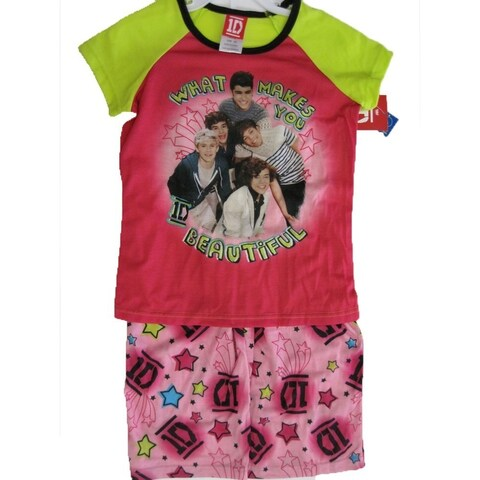 1D Little Girls Pink Green One Direction Band Print 2 Pc Sleep Wear Set 6-6X