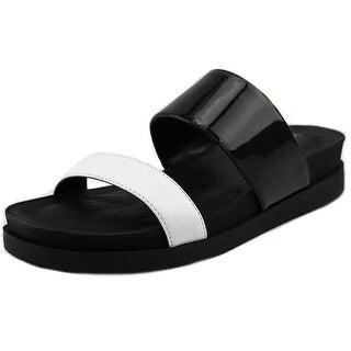 Kenneth Cole Reaction Jullian PA Women Open Toe Leather Black Slides Sandal