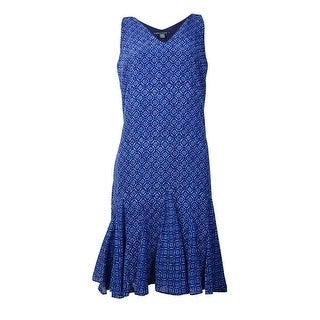 Lauren Ralph Lauren Women's Chiffon Pleated Trim Dress - indigo sky multi
