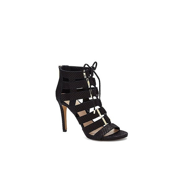 Vince Camuto Freshi Women Open-Toe Leather Black Heels