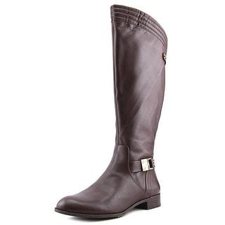 Anne Klein Kaydon Wide Calf Women Round Toe Leather Brown Knee High Boot