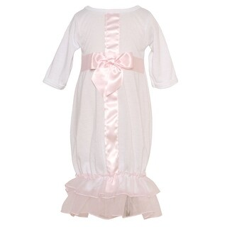 Laura Dare Baby Girls White Pink Satin Ribbon Bow Ruffle Sacque Preemie-6M