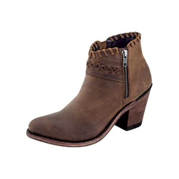Old West Fashion Boots Womens Side Zip Ankle Goodyear Welt Brown