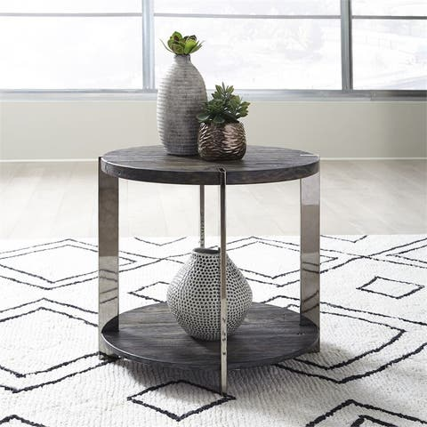 Paxton Charcoal with Chrome Plated Metal End Table