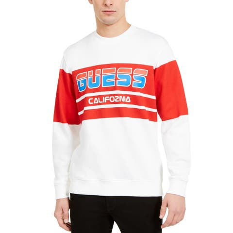 Guess Mens Sweatshirt Colorblock Cozy - Frosted White - M