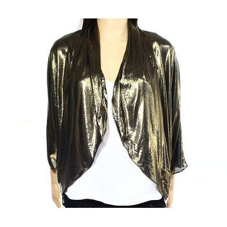 MSK NEW Gold Womens Size Medium M Open-Front Metallic Ruched Shrug