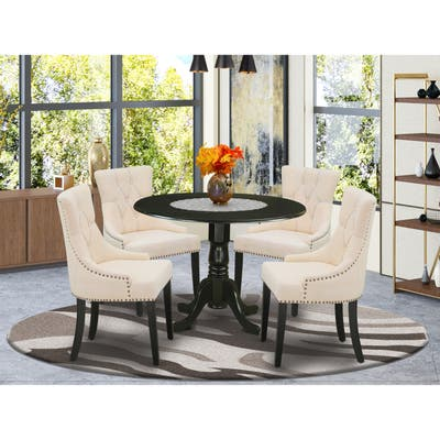 Dining Set Included Pedestal Dining Table and Parson Chairs - Mahogany Finish (Pieces Option)
